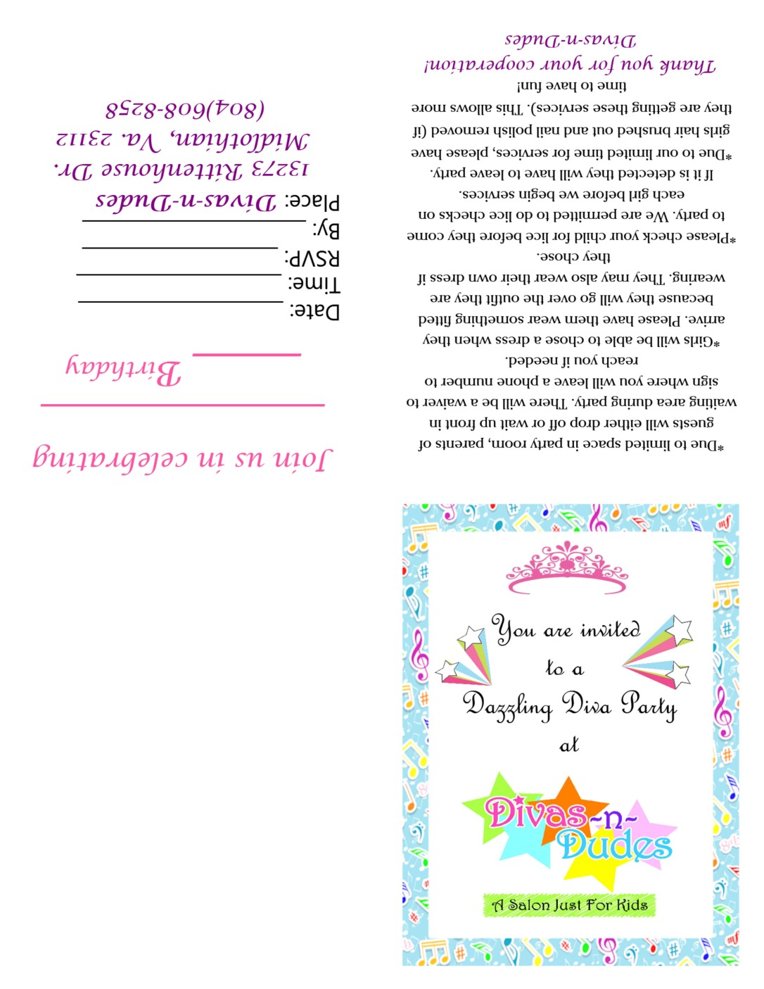 Dazzling Diva Invite